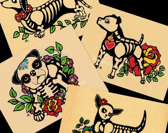 Day of the Dead POSTCARDS Dogs Skeleton Pets - Set of 4 Designs - Donation to Austin Pets Alive