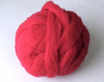 Polypay Wool Roving for Spinning -- Cherry Red 14 -- 4 oz.