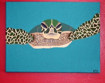Sea Turtle 11x14 Canvas Painting