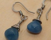 Small blue angelite faceted wire wrapped earrings. SALE 20% off
