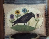 Primitive E Pattern Wool Applique Pillow Spring Crow Flowers