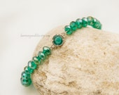 May birthstone bracelet jewelry Emerald green glass faceted beaded stackable bracelet
