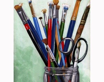Artist Brushes realistic still life art print from Original oil painting