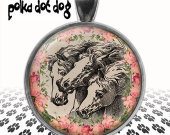 Three Horses -- Vintage Style Horse and Rose Large Glass-Covered Pendant