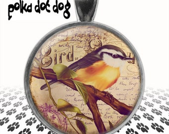 My Little Chickadee -- Whimsical Bird Large Glass-Covered Pendant