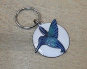 Copper Enameled hummingbird key ring / white and blue