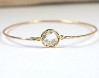 April Birthstone Clear Quartz Gold Bangle or Gold Chain Bracelet, Gold Bracelet, April Birthstone Bracelet