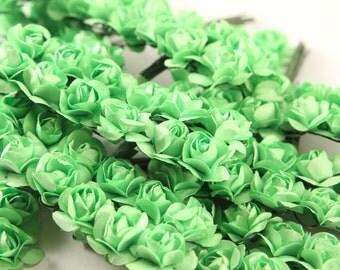 144 Lime Green Paper Flowers - mini - Wedding Invitations scrapbooking paper goods