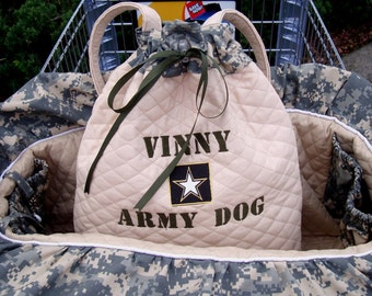 Shopping Cart Cover - Dog Cart Cover - Army Salute - Includes Embroidered Personalization