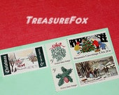 CHRISTMAS .. Winter Wonderland .. Vintage Unused US Postage Stamps for you to mail 5 Holiday Letters or Christmas Cards