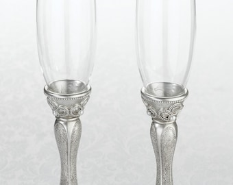 Vintage Inspired Toasting Flutes Champagne Glasses Wedding Glasses Ready to ship within two weeks