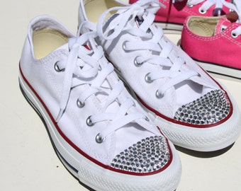 Bridal Chuck Taylor Low Top All Star Converse White Bridal Shoes Sneakers Crystallized