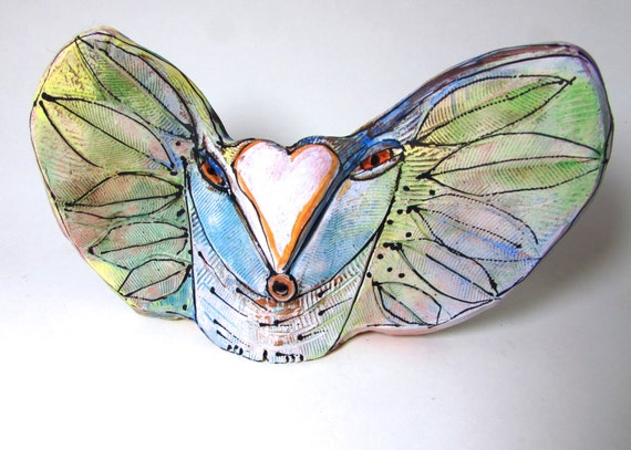 """Owl Sculpture Hand made from clay, """"Owl Person Singing Her Heart's Dream into Being"""" 8"""" wide, 5"""" tall"""