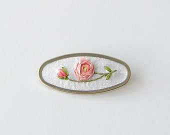 Peach rose brooch, silk ribbon embroidery, embroidered jewelry, June Birthday gift, Mother's day gift, oval brooch, botanical pin