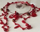 Red Crocheted and Beaded Necklace