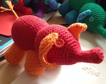 Amigurumi Elephant Stufed Toy in Red and Orange