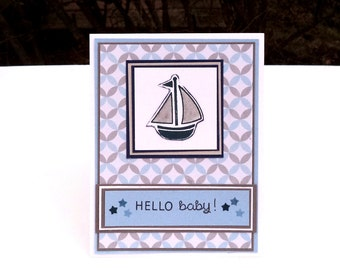Baby Boy Shower Card, Baby Announcement, Hello Baby, Blue and Gray Sailboat, Newborn Greeting Card, Boy Card