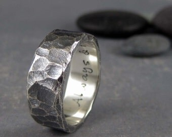 Rustic Mens Wedding Band Custom Engraved 8mm Rough Hewn Hammered Silver Ring