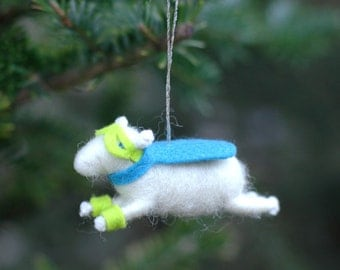 Super Hero Lamb Ornament in Turquoise and Chartreuse - - Needle Felted Sheep to the Rescue