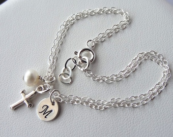 Sterling Silver First Communion Initial Birthstone and Charm Bracelet, Personalized, Monogram, Flower Girls Bracalet, Bridesmaid Bracelet
