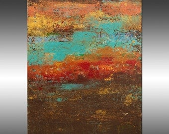 Modern Industrial 5 - Art Painting, Original Abstract Painting, Modern Art, Copper Turquoise Gold Canvas Wall Art, Contemporary Art