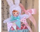 Easter Decoration Bunny Girl in an Easter Nut Cup Easter Decoration Easter Decor for Easter Party