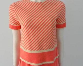 Vintage Mad Men Womens 3 Piece Suit 50s 60s 100% Wool Pink Salmon Day Glow Stripe Knit Suit Skirt s