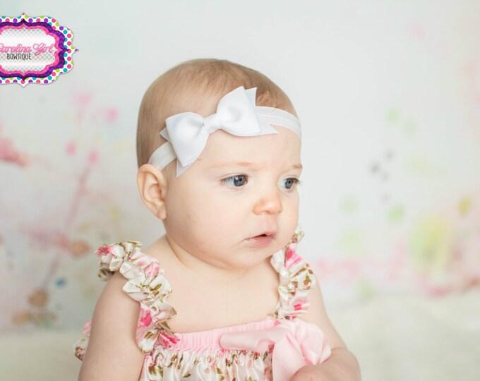 "White Tuxedo Bow Headband  ~ 3.5"" Hairbow ~ Small Hair Bow ~ Girls Headband ~ Toddler Bow ~ Baby Hair Bow ~ Hair Clip ~ Girls Hair Bow"
