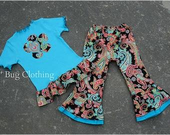Custom Boutique Clothing Patti Paisley Pants and Tee Cocoa Aqua 12 18 24 2t 3t 4t 5t 6