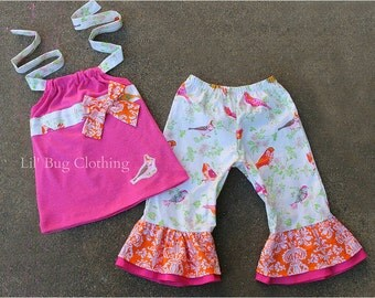 Custom Boutique Clothing Lil Bird Pink And Orange Damask Spring Summer Capri And Halter Top