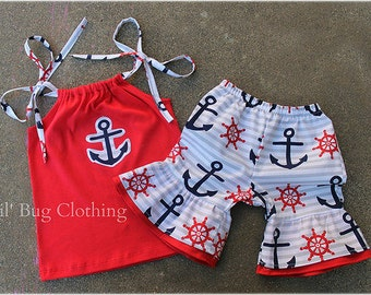 4th Of July Girls Outfit, 4th Of July Girls Short & Top, 4th Of July Pageant Wear Girls Outfit, 4th Of July Nautical Anchor Outfit,