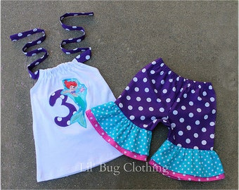 Custom Boutique Clothing Little Mermaid Ariel Personalized Polka Dot Short And Halter Top