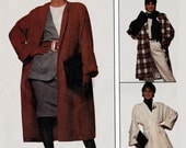 1980s Flared Oversized Coat with Tie Belt McCalls 3874 Vintage 80s EASY Sewing Patern Size Small 10-12 UNCUT