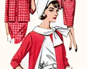 1960s Wiggle Dress Suit Butterick 2563 Jackie O Style Boxy Jacket Tie Scarf Collar Vintage MOD Sewing Pattern Size 16 Bust 36 UNCUT