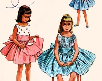1950s Girls Sleevless Full Skirted Dress with Short Jacket McCalls 2054 50s Vintage Sewing Pattern Size 4