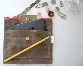 Brown Waxed canvas zipper case clutch travel storage mothers organizer diaper case make up bag minimalist clutch pencil case redwood tree