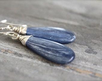 Large Blue Kyanite Wire Wrapped Earrings. Drop Dangle Sterling Silver Earrings