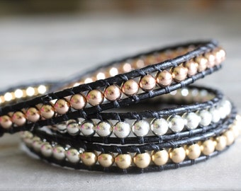 Rose and Yellow Gold and Sterling Silver Leather Wrap Bracelet. Triple Wrap By CraeVita Black Leather