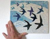 flying birds hand carved ceramic art tile