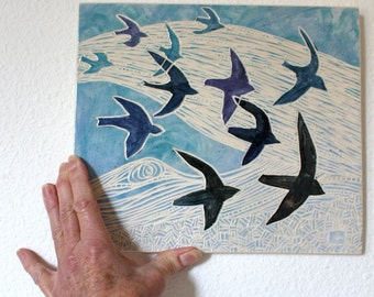 flying birds hand carved ceramic art tile