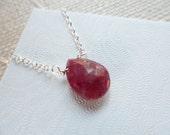 Genuine Ruby Briolette Sterling Silver Necklace - Birthday Gifts, July Birthstone