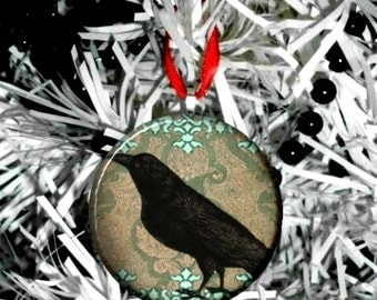 Damask Crow Raven Christmas Ornament -Vict