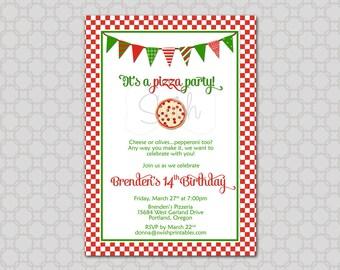 Pizza Party Birthday Invitation - Digital Printable Birthday 5x7 Invite