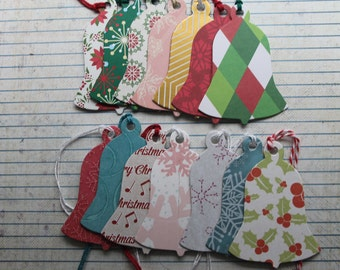 14 Bell shaped Gift Tags sampler 14 different patterns paper over chipboard