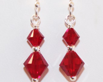 Red Swarovski Crystal Earrings, Sterling Silver, Dainty Earrings, Ready To Ship, Bridesmaid Jewelry, Shimmer Shimmer