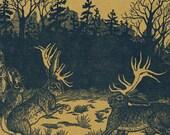 Elk Horn Bunnylopes Letterpress Printed Original Illustration