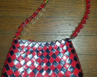 Red and white candy wrapper purse