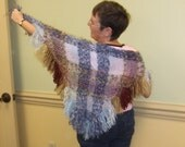 Hand woven triangular shawl, made on triangle frame loom, custom made, plaid, mohair, wool, synthetic fibers