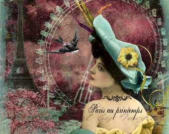 Paris Beauty Digital Collage Greeting Card (Suitable for Framing)