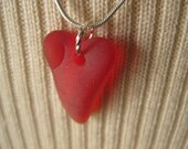Heart Deep ruby RED beachglass pendant, seaglass inspired vintage glass. Mothers day gift idea